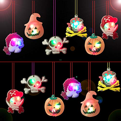 Jofan 12 Pack LED Halloween Necklace Light Up Toys for Kids Halloween Gifts Treats Halloween Party Favors