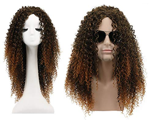 Karlery Men and Women Long Curly Brown Gradient Orange California Hard 80s Rocker Wig Halloween Costume Anime Wig ()