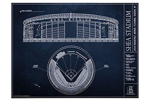 Shea Stadium Blueprint Style Print (Unframed, 18