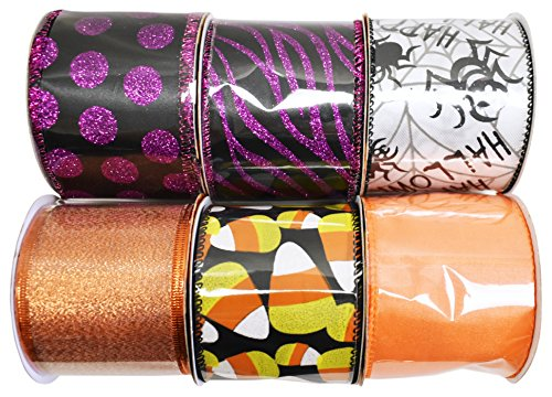 Set of 6 Halloween Wired Ribbon Rolls! 3 Yards of Ribbon Per Roll! Spooky Halloween Decorations Perfect for Classrooms, Schools, Parties and More! (6, Set 1) (Dollar Tree Halloween Decorations 2017)