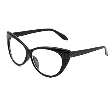 22d72fa28574 Amazon.com  NEW MODEL 2018!!! Generic Retro Sexy Women Eyeglasses Frame  Fashion Cat Eye Clear Lens ladies Eye Glasses (Black)  Clothing