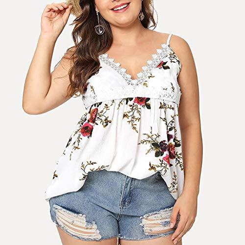 dimensioni donna da di T T stampate floreali Slyar Colletto shirt Estate Bianco grandi shirt unita Nuovo con Moda pizzo 2019 in bretelle tinta pfZEqw