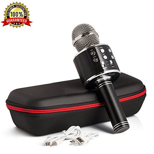 Karaoke Microphone Wireless With Bluetooth Speaker - Instagram 5000+Likes iPhone Android PC Smartphone Portable Handheld Microphone for Singing Recording Interviews or Kids Home KTV Party (Black)
