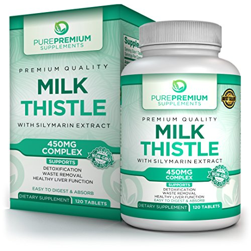 Premium Milk Thistle Supplement by PurePremium | Liver Cleanse & Support Dietary Supplement | Super-Concentrated Extract 450mg Complex + Silymarin | Healthy Liver & Remove Toxins | Non-GMO | 120 Tabs