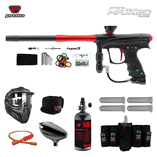 MAddog Proto Rize MaXXed Elite HPA Paintball Gun Package - Black/Red