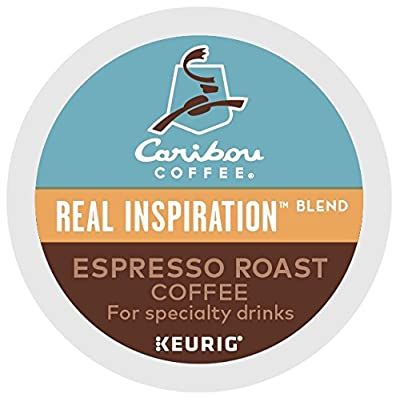 Caribou Coffee Real Inspirations Blend Espresso Roast, Single Serve Coffee K-Cup Pod