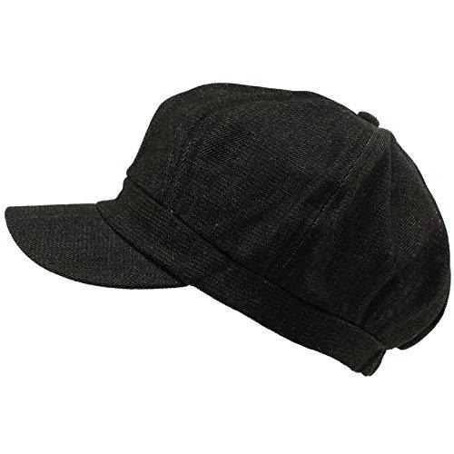 Summer 100% Cotton Plain Blank 6 Panel Newsboy Gatsby Apple Cabbie Cap Hat Denim - Squints Costume