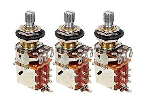 3 Bulk Pack Genuine Bourns 500K Split Shaft Push-Pull Pots for Electric Guitar by Bourns