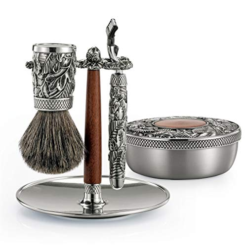 Royal Selangor Hand Finished Men's Accessories Collection Pewter Woodland Shaving Set