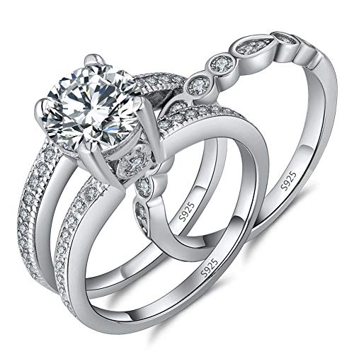 MABELLA 2.7 Carats Round Cut White Cubic Zirconia 925 Sterling Silver Alternative Engagement Wedding Ring Set Size 5-10