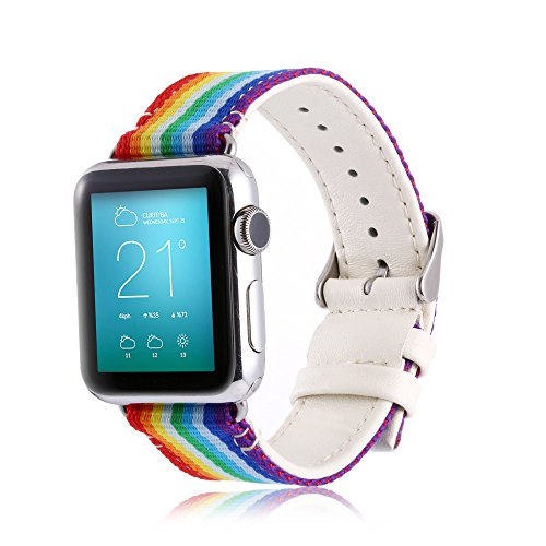 Rainbow Apple Watch Band 42mm Nylon &Genuine Leather Sweatproof iWatch Strap Replacement Bands with Stainless Metal Clasp for Apple Watch Series 1 2 3 by MeiQing