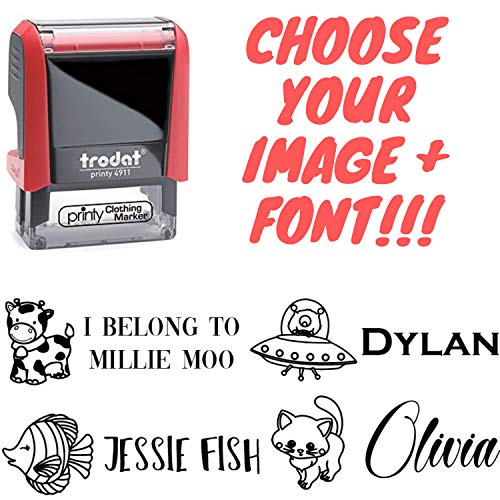 Clothing Stamp Personalized Label. Pick Your Design and Font - Stamp Your Clothes with Your Custom Name. Great for Kids T-Shirts Clothing Stamp Customized. 2 Line Stamper. Stamp Your Name -