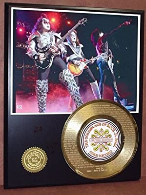 "Kiss ""Rock N Roll All Night"" 24Kt Gold 45 Record LTD Edition Display Laser Etched W/ Lyrics"