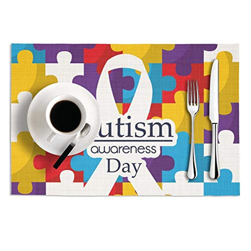 HailinED World Autism Awareness Day Puzzle Color Ribbon Logo Poster Vinyl Non-Slip Heat Resistant Placemats Anti-Skid Dining Table Mats Set of 2, 18