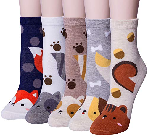 Funny Cotton - Chalier 5 Pairs Womens Cute Animal Socks Colorful Funny Casual Cotton Novelty Crew Socks