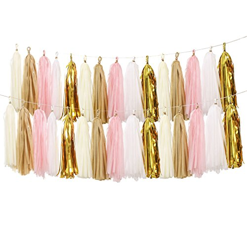 ling's moment 2 X 20pcs Tassel Banner Tissue Paper Tassel Garland, Gold Tassel Garland, for Wedding Baby Shower Bridal Shower Event & Party Supplies DIY Kits
