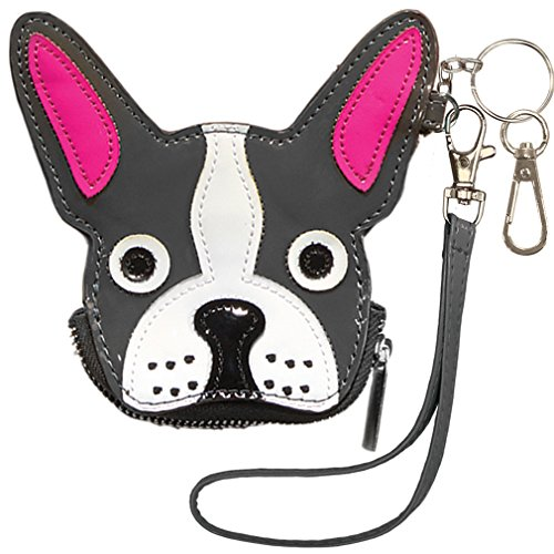 - iscream Girls' Black French Bulldog Wristlet Clutch Coin and Key Purse in Faux Patent Leather