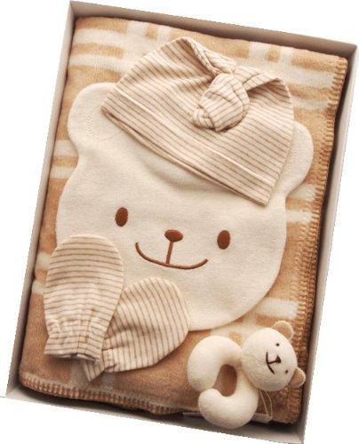 ご出産祝いに!オーガニックコットン 綿毛布ブラウンプチケットスタイギフトセット   B002X2LH7I