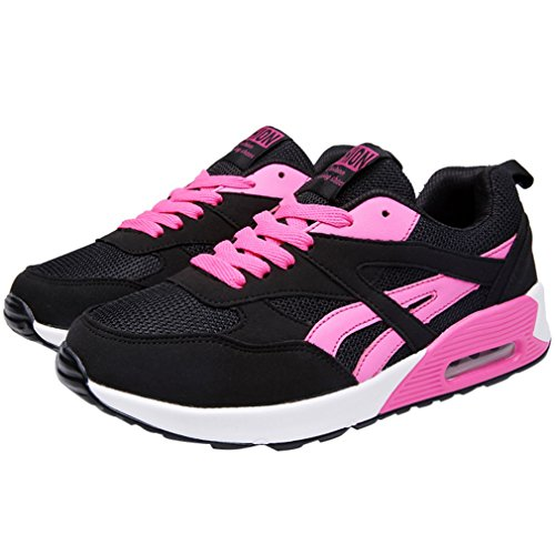 ENMAYER Womens PU Material Cross-tied Round Toe Sport Shoes Woman Lace-up Sneaker Shoes Rose rQ4dAL