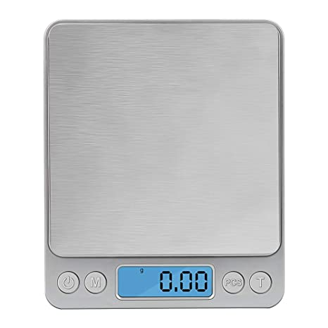 Zorara Báscula Digital para Cocina de Acero Inoxidable, 3kg/6.6 lbs, Balanza de Alimento Multifuncional, Peso de Cocina con Pantalla LCD, Plata ...