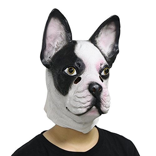 LarpGears Creepy Halloween Costume Funny Animal Latex French Bulldog Mask Fancy Dress for Party]()