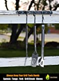 Hook Rack for BBQ Utensils, Coats, Pots, Bathroom Towels - HEAVY DUTY STAINLESS STEEL - 5 Hooks Rail For Hanging All Of Your Grill or Smoker Tools & Accessories - Wall Mount Easy Installation