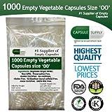 1000 Empty Vegetarian Vegetable size 00 capsules Vcaps Veggie cap Halal/Kosher l NON -GMO HIGH QUALITY