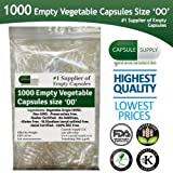 1000 Empty Vegetarian Vegetable size 00 capsules Vcaps Veggie cap Halal/Kosher l NON -GMO HIGH QUALITY