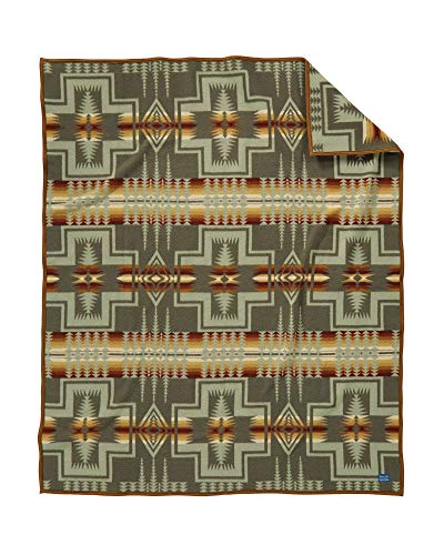 Pendleton Harding Jacquard Wool Bed Throw Blanket, Thyme, Queen Size