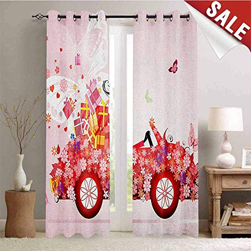 (Cars, Waterproof Window Curtain, Girl on a Car with Floral Present Boxes Butterflies Daisies Little Hearts, Room Darkening Wide Curtains, W72 x L96 Inch Pink Dark Coral Black )