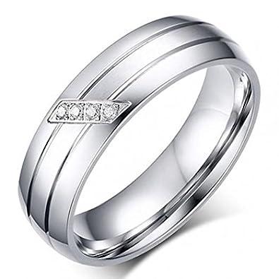 Amesii Femme Homme Alliance en Acier Inoxydable Couple de fiançailles Knuckle Bracelet Bague
