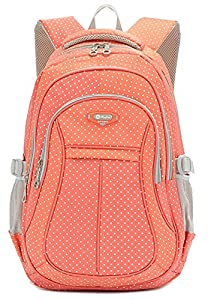 Girl Multipurpose Dot Primary Junior High University School Bag Bookbag Backpack (27Liters, Orange)