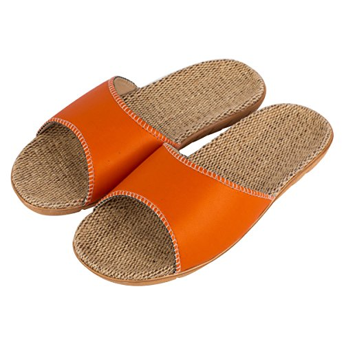 Haisum Dames Zomer Linnen Slippers Open Teen Absorberen Zweet Cool Antislip Huis Platte Pu Lederen Sandalen Oranje