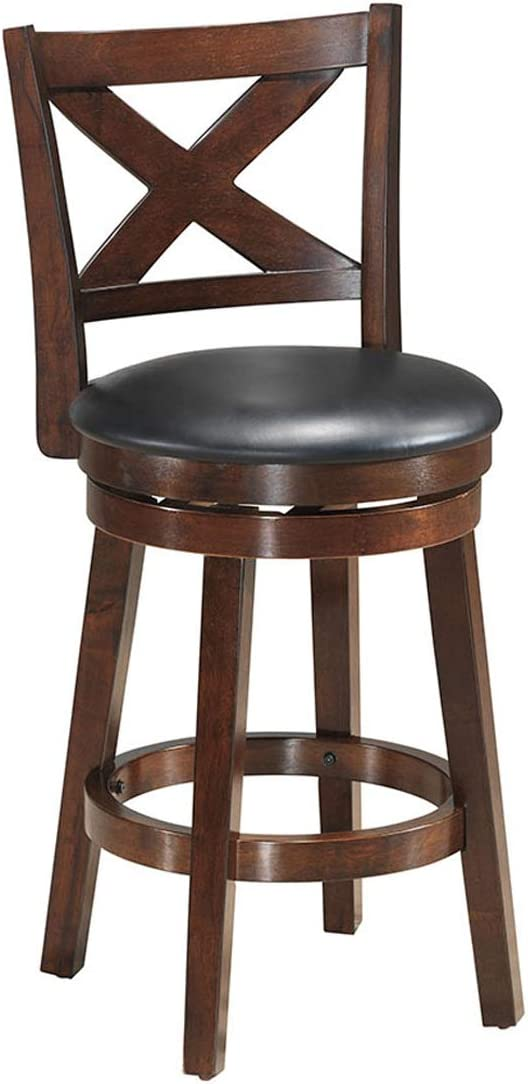 COSTWAY Bar Stools, Counter Height Dining Chair, Fabric Upholstered 360 Degree Swivel, PVC Cushioned Seat, Perfect for Dining and Living Room Height23.5