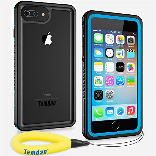 Temdan iPhone 8 Plus / 7 Plus Waterproof Case with Floating Strap Built in Screen Protector Underwater Waterproof Case for iPhone 7 Plus and iPhone 8 Plus(5.5inch)-Blue/Clear