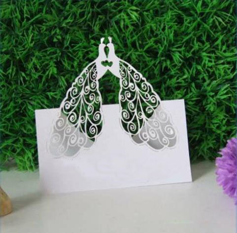 Worldoor® Hot Sale 50ps Two Peacock Design Table Card Laser Cut Paper Place Card Guest Name Holder Wedding Party Feast Favors