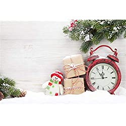 Laeacco Christmas New Year Backdrop 10x7ft Vinyl Cute Smiling Snowman Gifts Old Red Clock Snow Evergreen Pine Plain Wooden Wall Background Xmas Party Banner Child Baby Adult Shoot Greeting Card