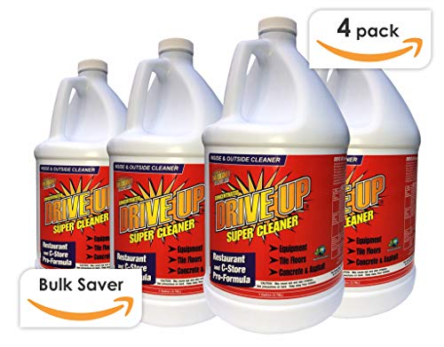 Drive Up | 4 x 1 Gal. | Super Cleaner Concentrated Degreaser | Multi Purpose & Multi Surface | Safest degreaser | Remove Motor Oil from Concrete | Industrial Strength - Cleaning Up Oil