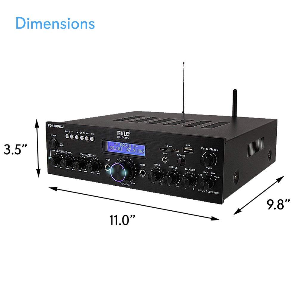 Studio Use Radio,Home Theater via RCA 200W Dual Channel Sound Audio Stereo Karaoke Speaker Receiver w// USB Microphone IN w// Echo AUX Wireless Microphone Power Amplifier System Pyle PDA8BUWM