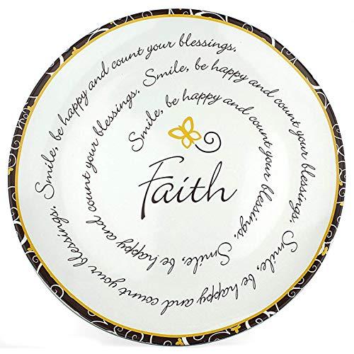 """National Imports Ceramic Collector Plate, Faith Gift, 9. 5"""" Faith Plate, Best Inspirational Present, Faith Home Decor."""