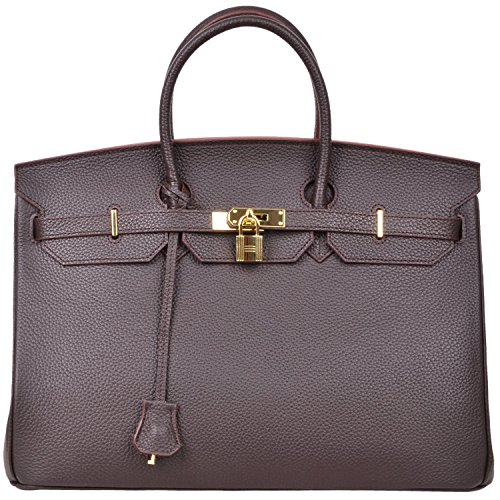 Cherish Kiss 40cm Oversized Padlock Business Office Top Handle Handbags (40cm with Gold Hardware, Coffee) by Cherish Kiss