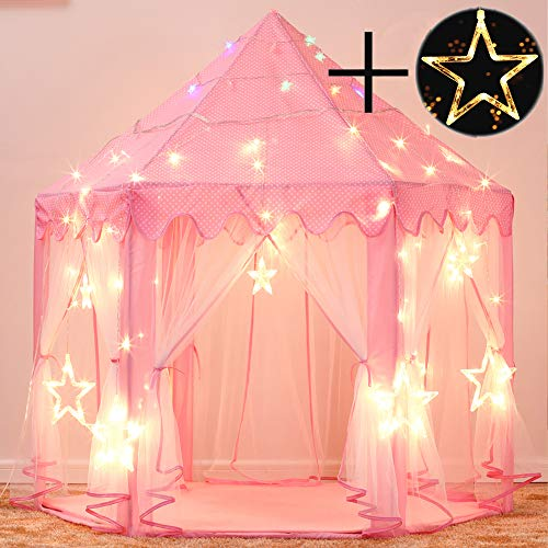 Sumbababy Princess Castle Tent for Girls Fairy Play Tents for Kids Hexagon Playhouse with Large Star Lights Toys for Children or Toddlers Indoor or Outdoor Games (Pink)