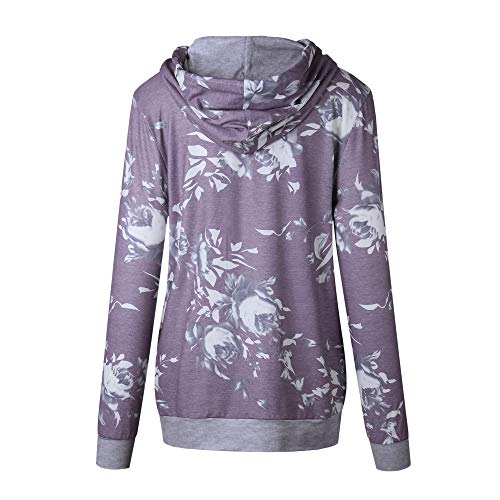 Barlver Women's Casual Hoodies Long Sleeve Sweatshirts Cowl Neck Floral Printed Hooded Pullover Top with Pockets by Barlver (Image #6)