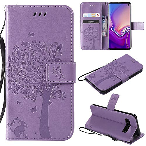 (Moto G7 Power Cases [Cat and Tree] PU Leather flip Wallet Phone case Cover for Motorola Moto G7 Power,Light Purple)