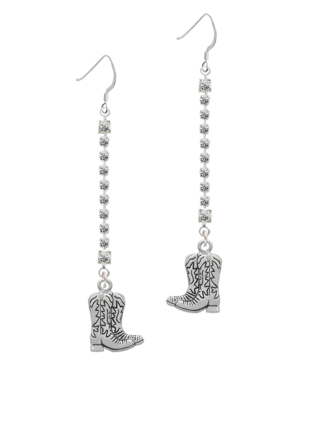 Silvertone Cowboy Boots Crystal Ava Earrings