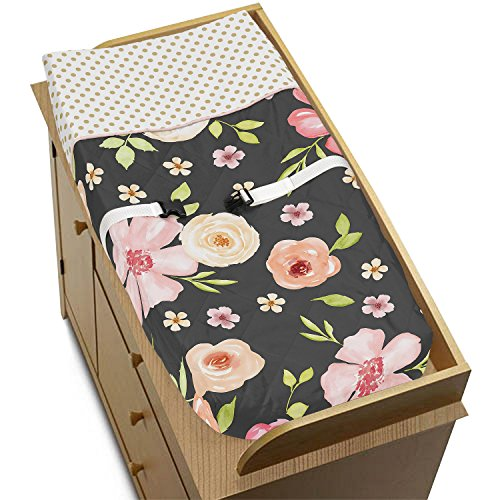 Sweet Jojo Designs Black, Blush Pink and Gold Changing Pad Cover for Watercolor Floral Collection - Rose Flower