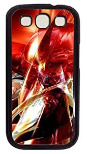 Abstract Red Art PC Case Cover For Samsung Galaxy S3 SIII I9300 Black
