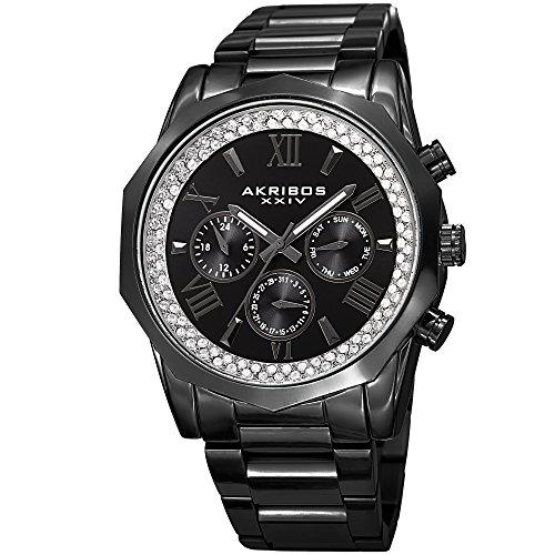 Akribos XXIV Men's Quartz Multifunction Crystal Accented Black Stainless Steel Bracelet Watch - AK999BK