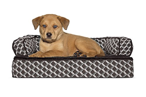 Furhaven Pet Dog Bed | Orthopedic Plush & Décor Comfy Couch Sofa-Style Pet Bed for Dogs & Cats, Diamond Brown, (Bolstered Orthopedic Sofa Bed)