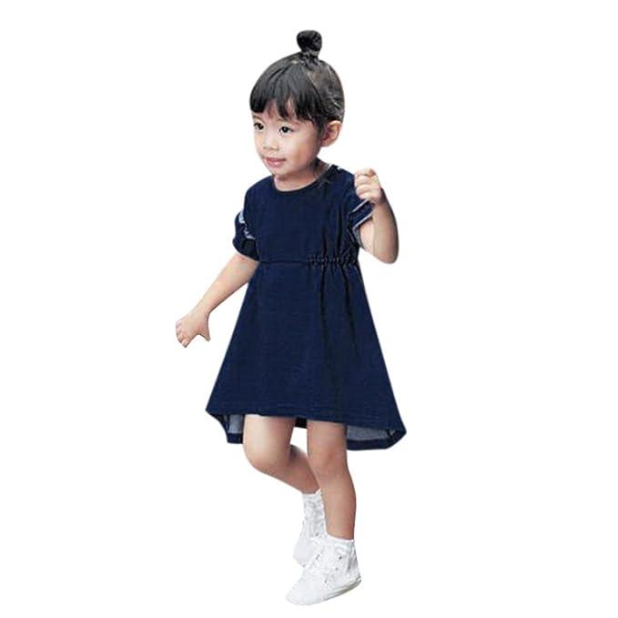 Btruely Herren Recién nacido Infantil Bebé Niña Vestido de princesa sólido con volantes vestidos de fiesta